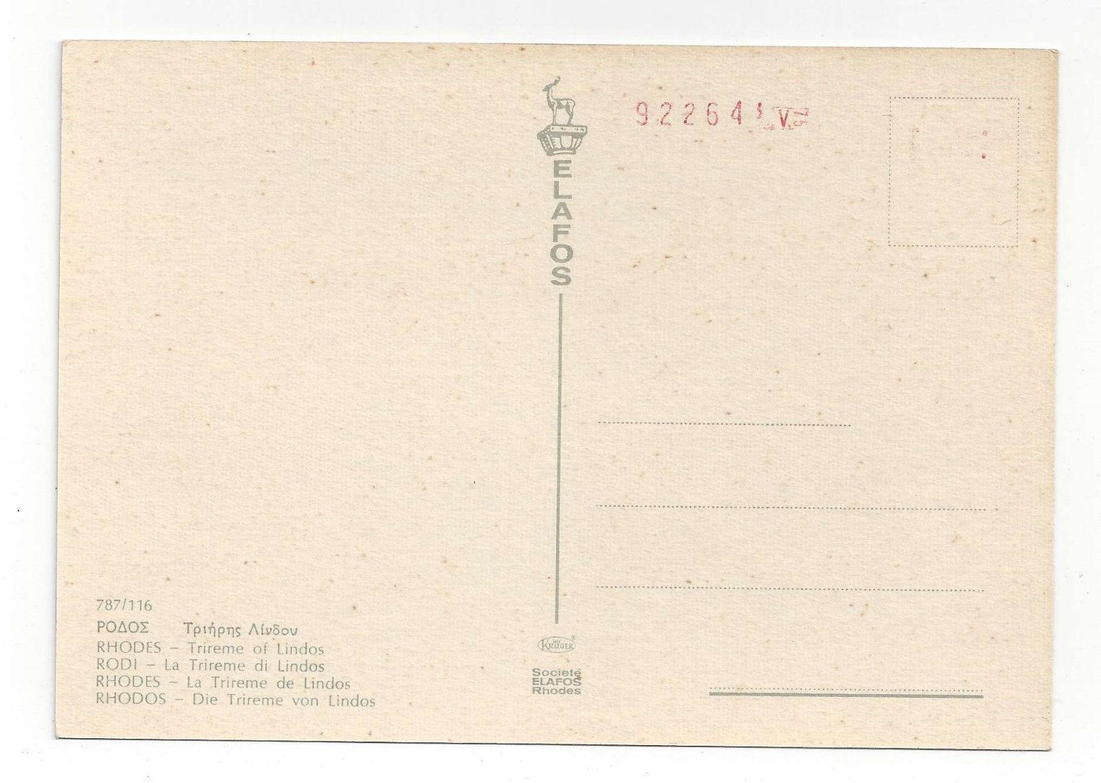 Greece Rhodes Rhodos Trireme Lindos Bas Relief Warship Vtg Postcard 4X6