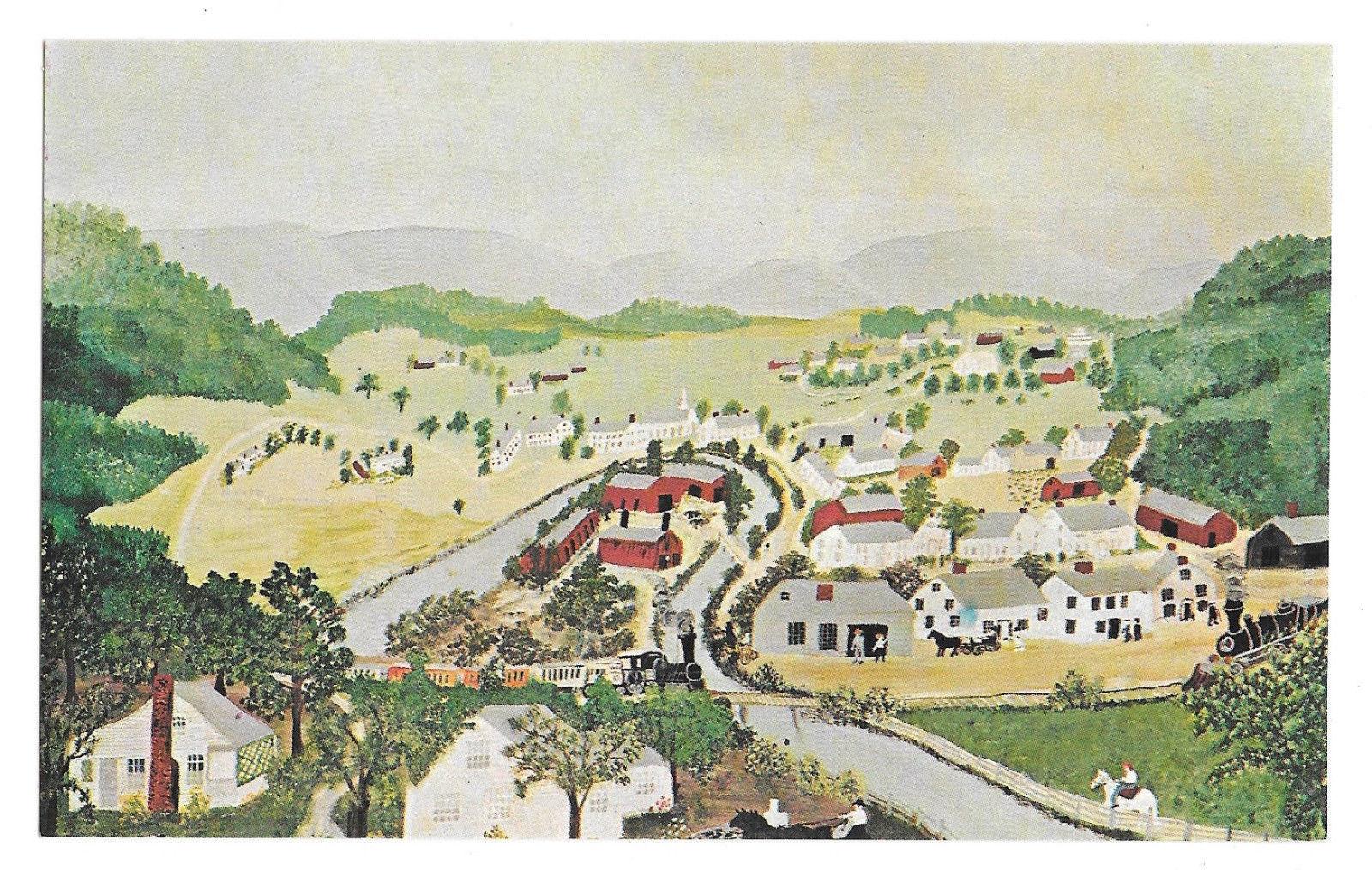 Hoosick Falls Grandma Moses Primitive Painting Vtg Postcard