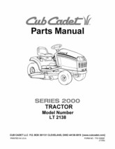 Cub Cadet Parts Manual Model No. LT 2138 - $10.88
