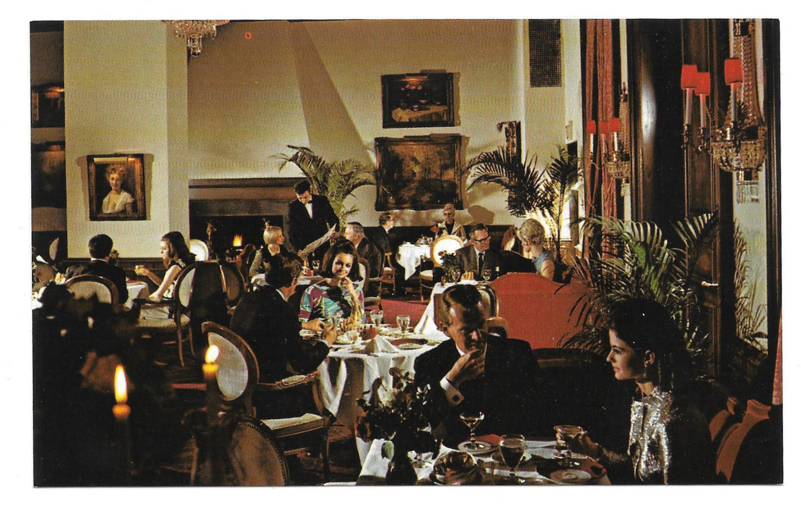 IL Chicago Jacques French Restaurant Chateau Dining Room Vtg Postcard