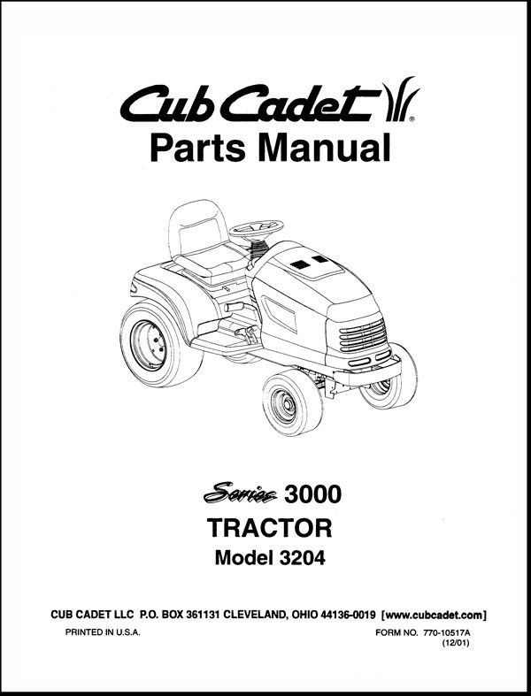 Cub Cadet  Model No.3204 Manuals COMBO Package
