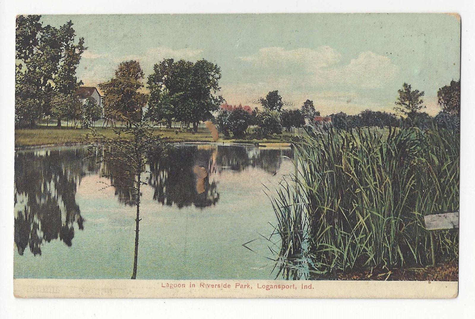 IN Logansport Lagoon in Riverside Park Indiana Vtg Postcard 1909 Flag Cancel