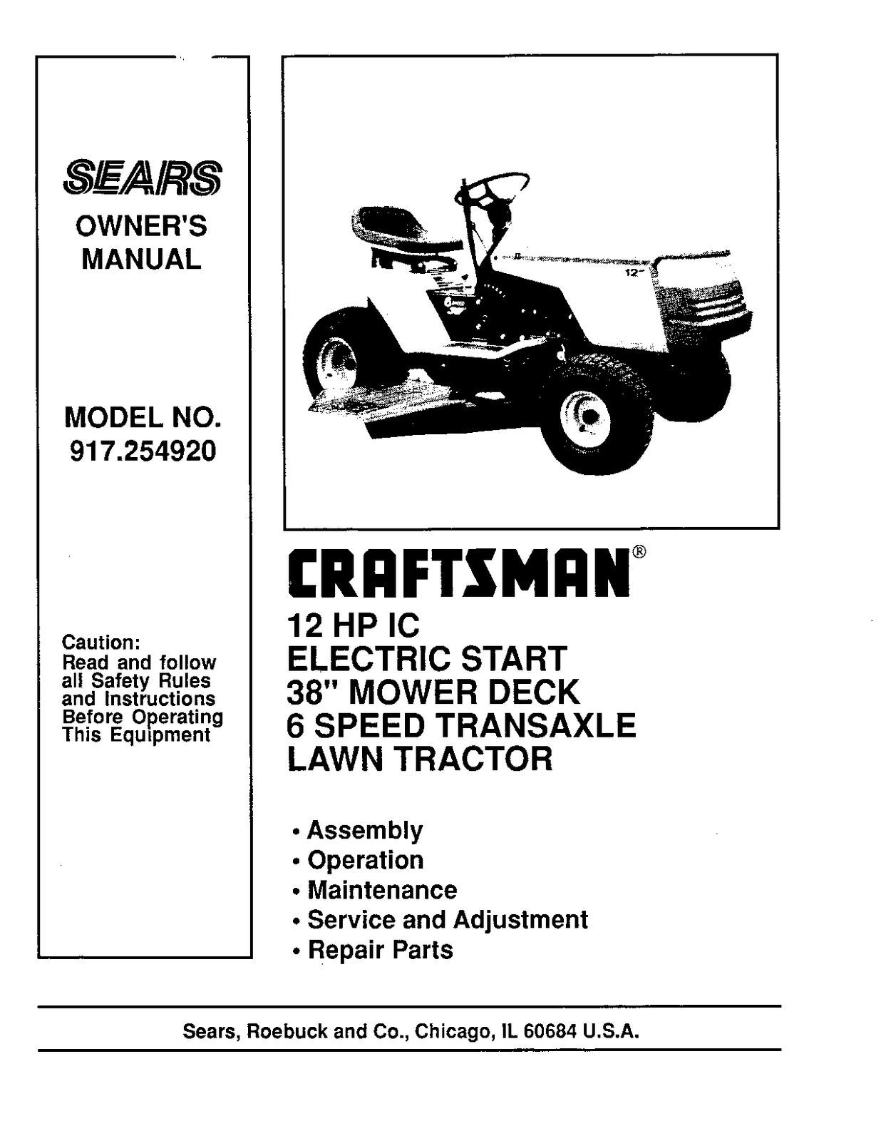 Craftsman  Lawn Tractor Operators Manual 917.254920