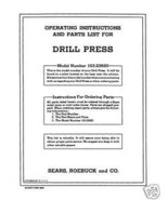 Craftsman 12 1/4 DRILL PRESS Manual Model 103.23620 - $10.88