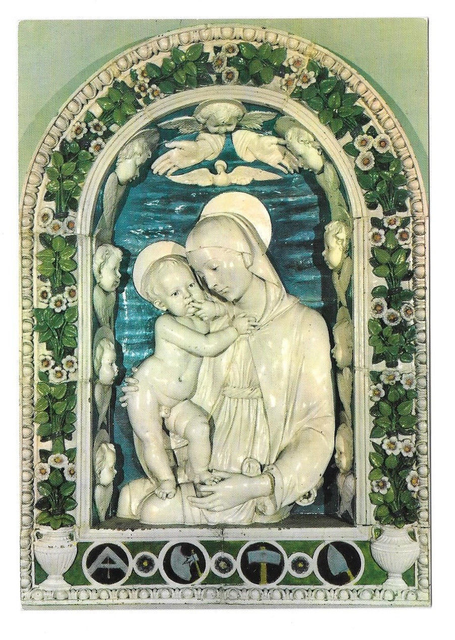 Italy Florence Firenze Della Robbia Virgin and Child Vtg Art Postcard 4X6