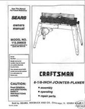 "Craftsman 6 1/8"" Jointer Operators Manual No.113.206933 - $10.88"