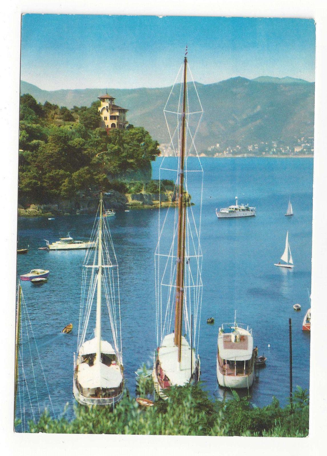 Italy Portofino Genoa Riviera Panfili all'ancora Yachts Sailing Vtg Postcard 4X6