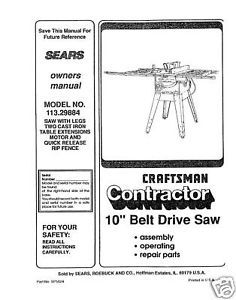 Sears Craftsman  Table Saw Manual Model # 113.29884