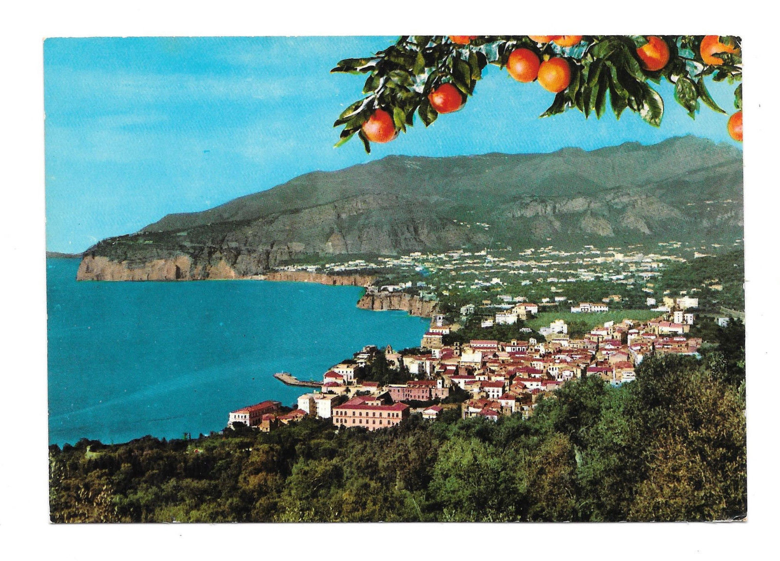 Italy Sorrento Panorama View from Villa Parisi Vtg Postcard 4X6
