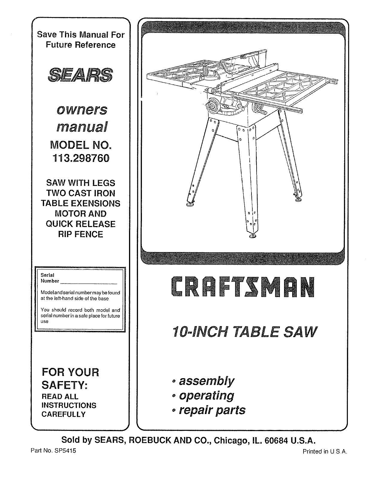 Sears Craftsman  Table Saw Manual Model # 113.298760