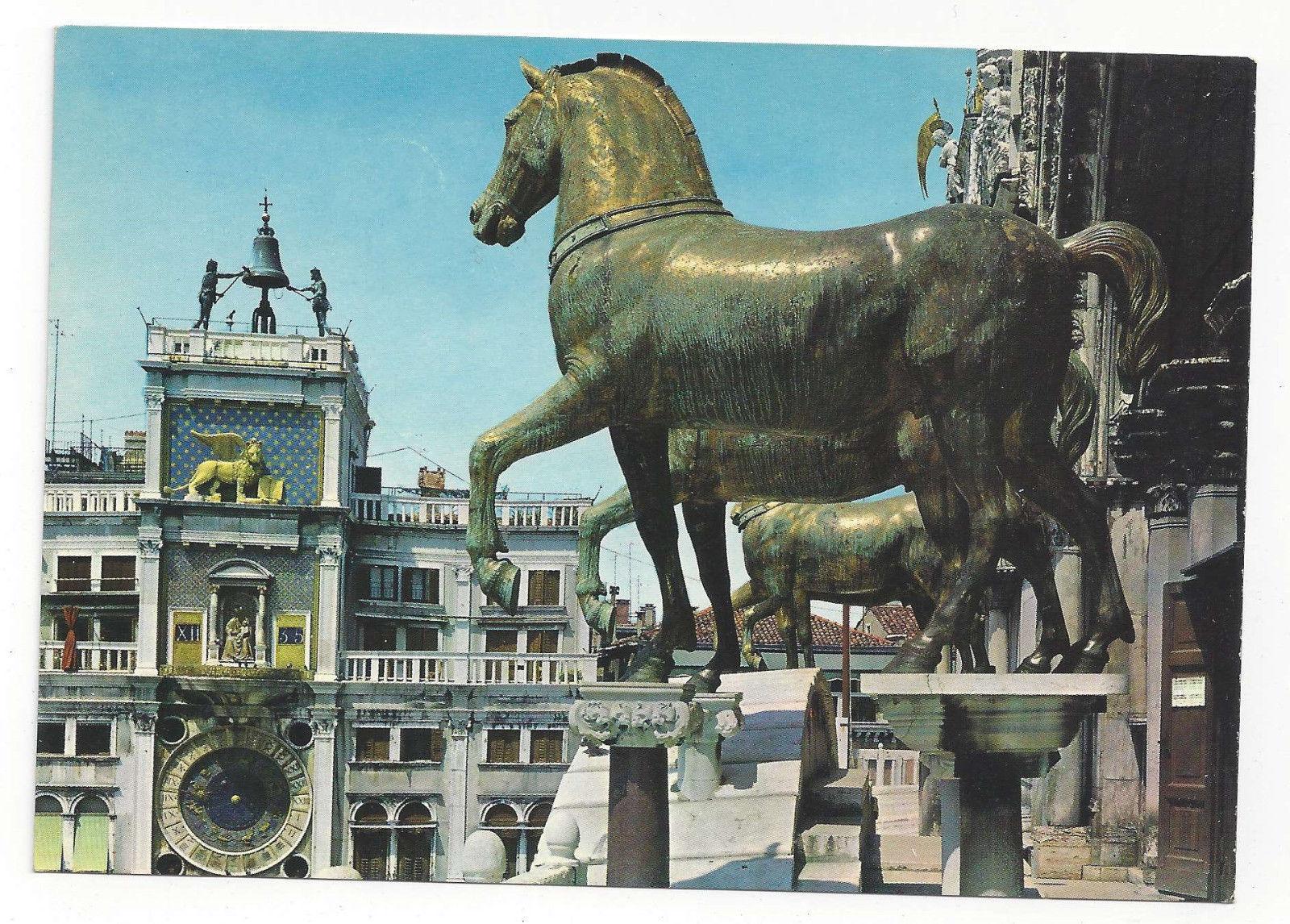 Italy Venice Basilica St Mark Clock Tower Horses Venezia Vtg Postcard 4X6