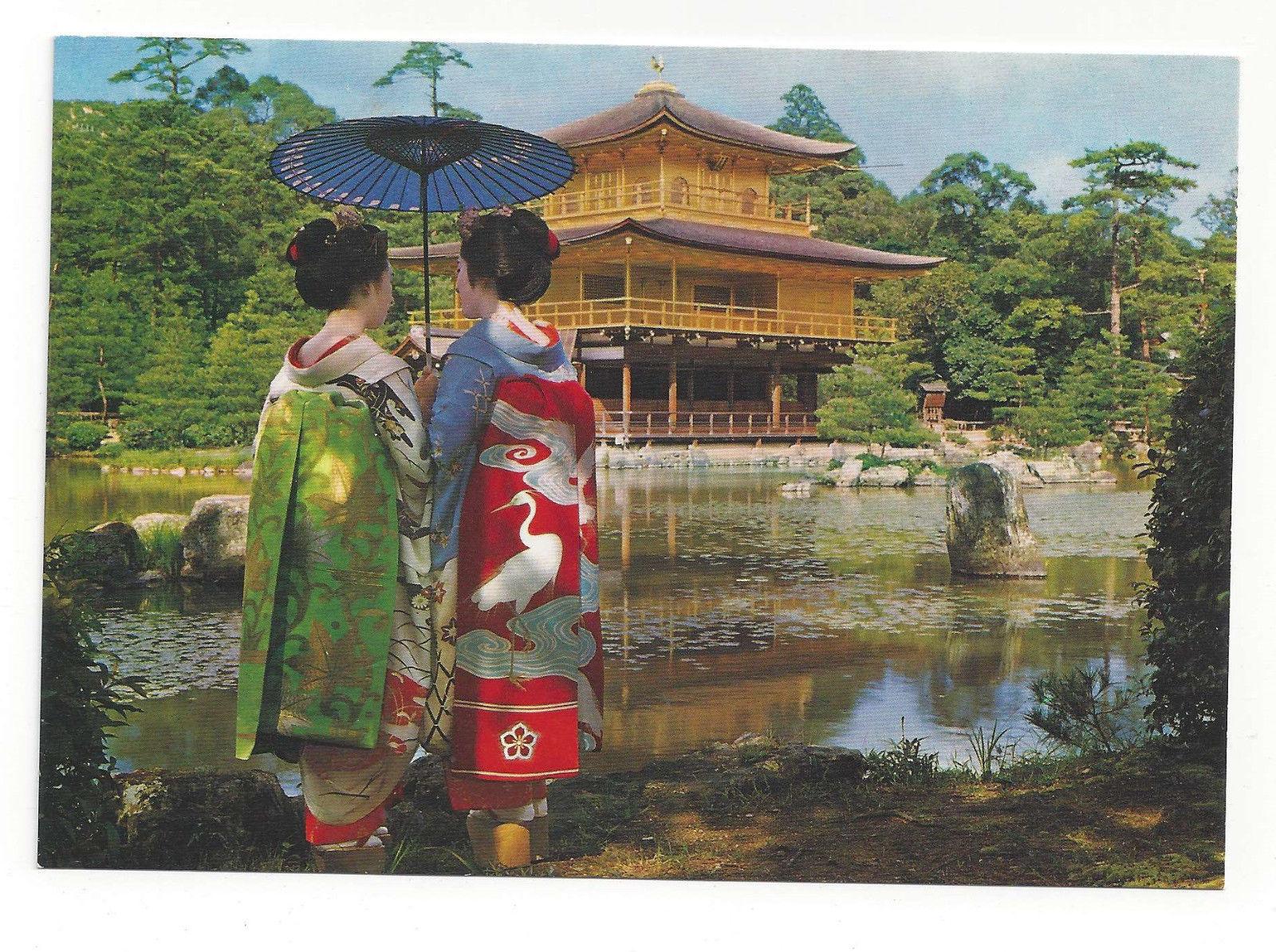 Japan Kyoto Maiko Dancers Golden Pavilion Kimono Obi Vtg Postcard 4X6