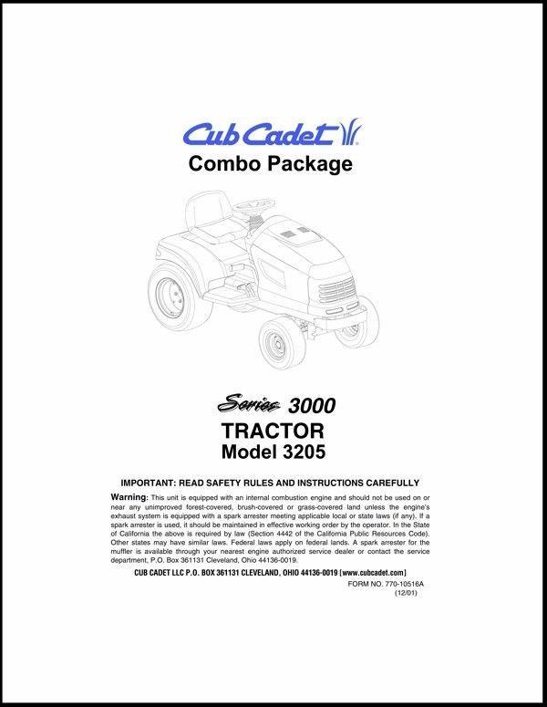 Cub Cadet  Model No.3205 Manuals COMBO Package