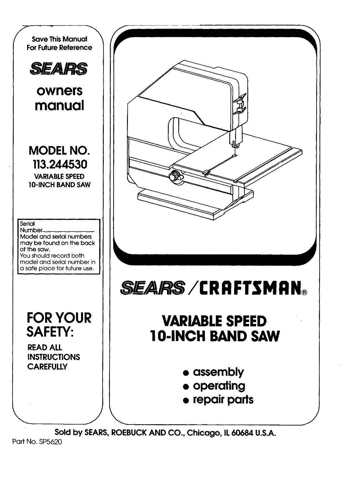 """Craftsman  10 """" Operators Manual 113.244530"""