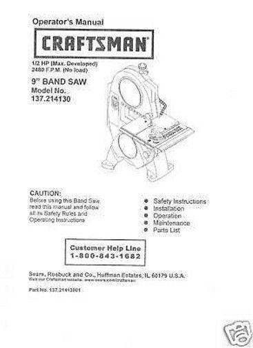 """Craftsman  9"""" Operators Manual 137.214130"""