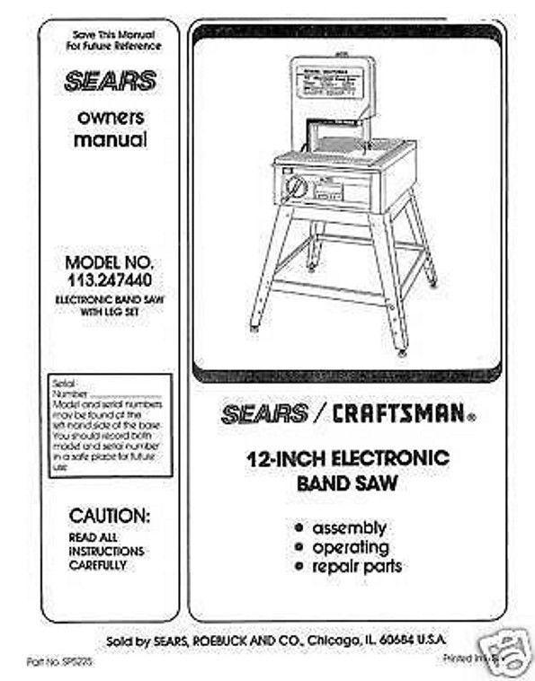 """Craftsman  12 """" Operators Manual 113.247440"""