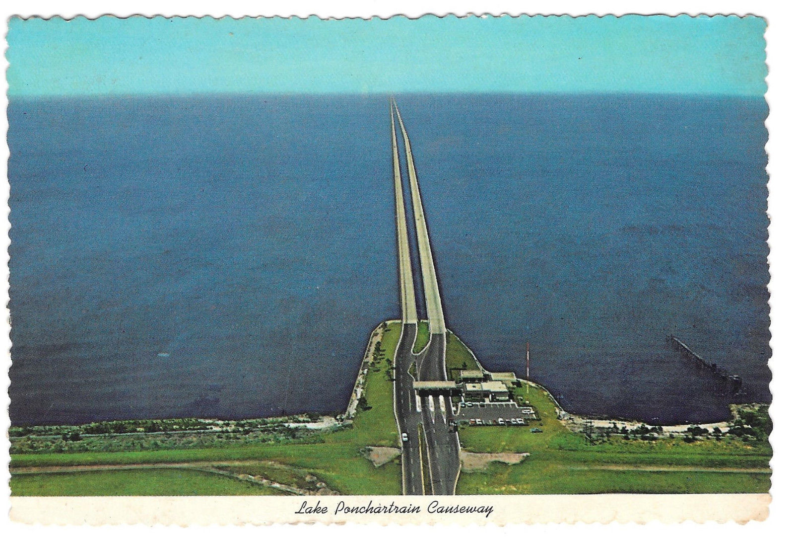 LA New Orleans Lake Ponchartrain Causeway Vtg 1977 Postcard 4X6 Pontchartrain