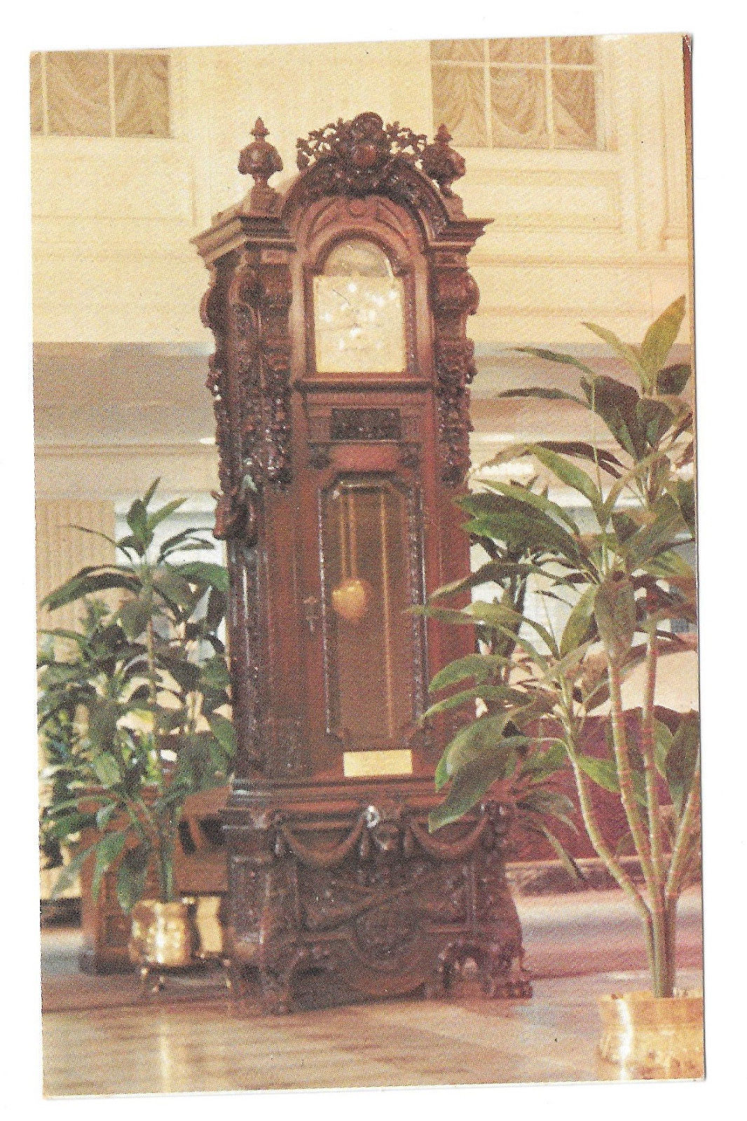 LA New Orleans Hotel Monteleone French Quarter Grandfather Clock Vtg Postcard