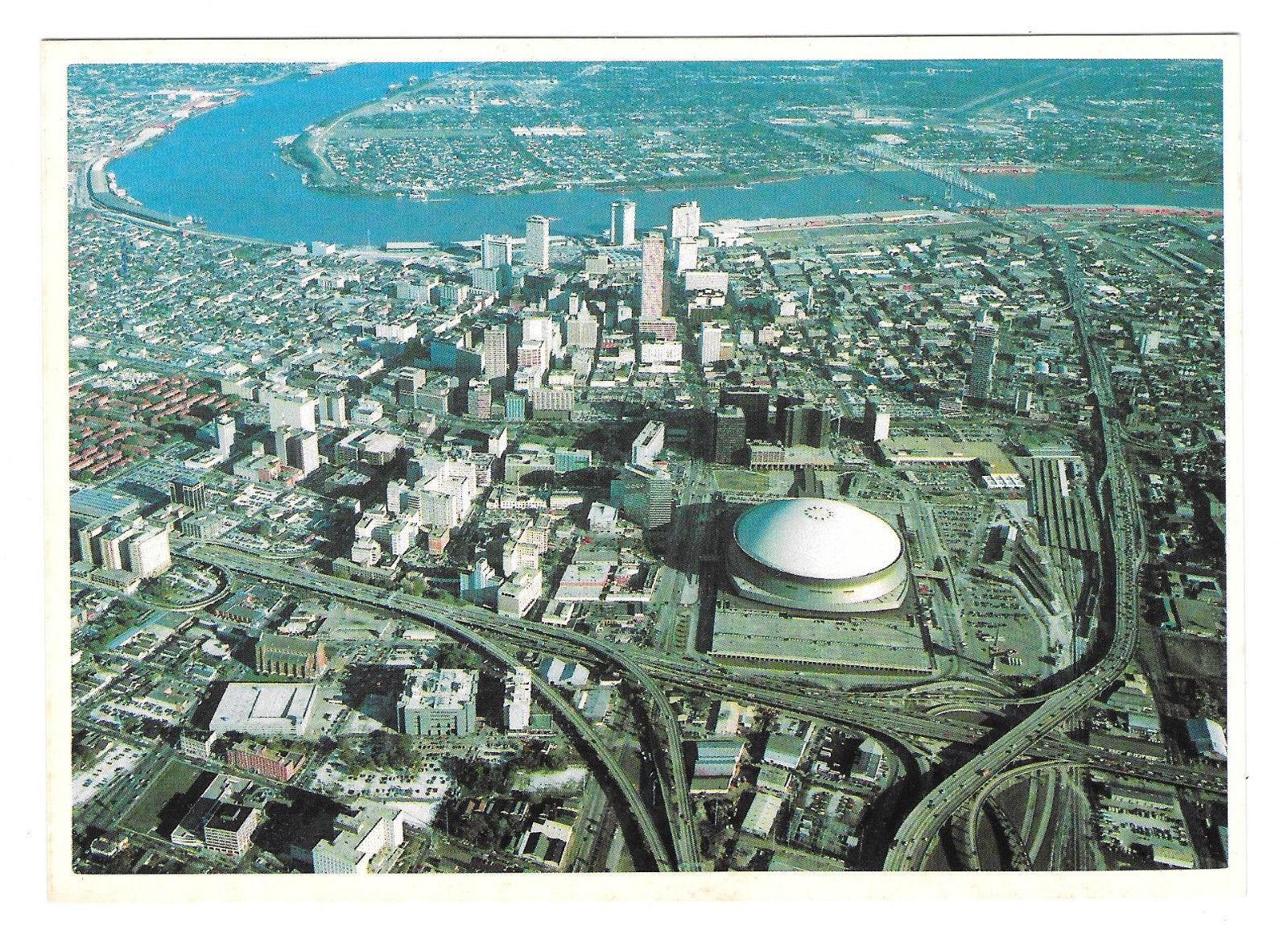 LA New Orleans Aerial View Superdome Mississippi Bridge Hotels Vtg Postcard 4X6