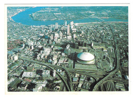 LA New Orleans Aerial View Superdome Mississippi Bridge Hotels Vtg Postc... - $4.74