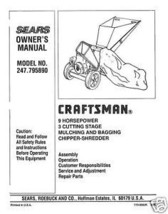 Craftsman  Chipper Shredder  Manual Model # 247.795890 - $10.88