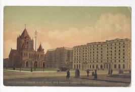MA Boston Copley Square Plaza Hotel Trinity Church Vtg Postcard ca 1910 - $4.74