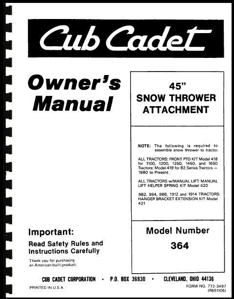 """Cub Cadet 45"""" Snow Thrower Attachment Owners Manual Model No. 190-364-100"""