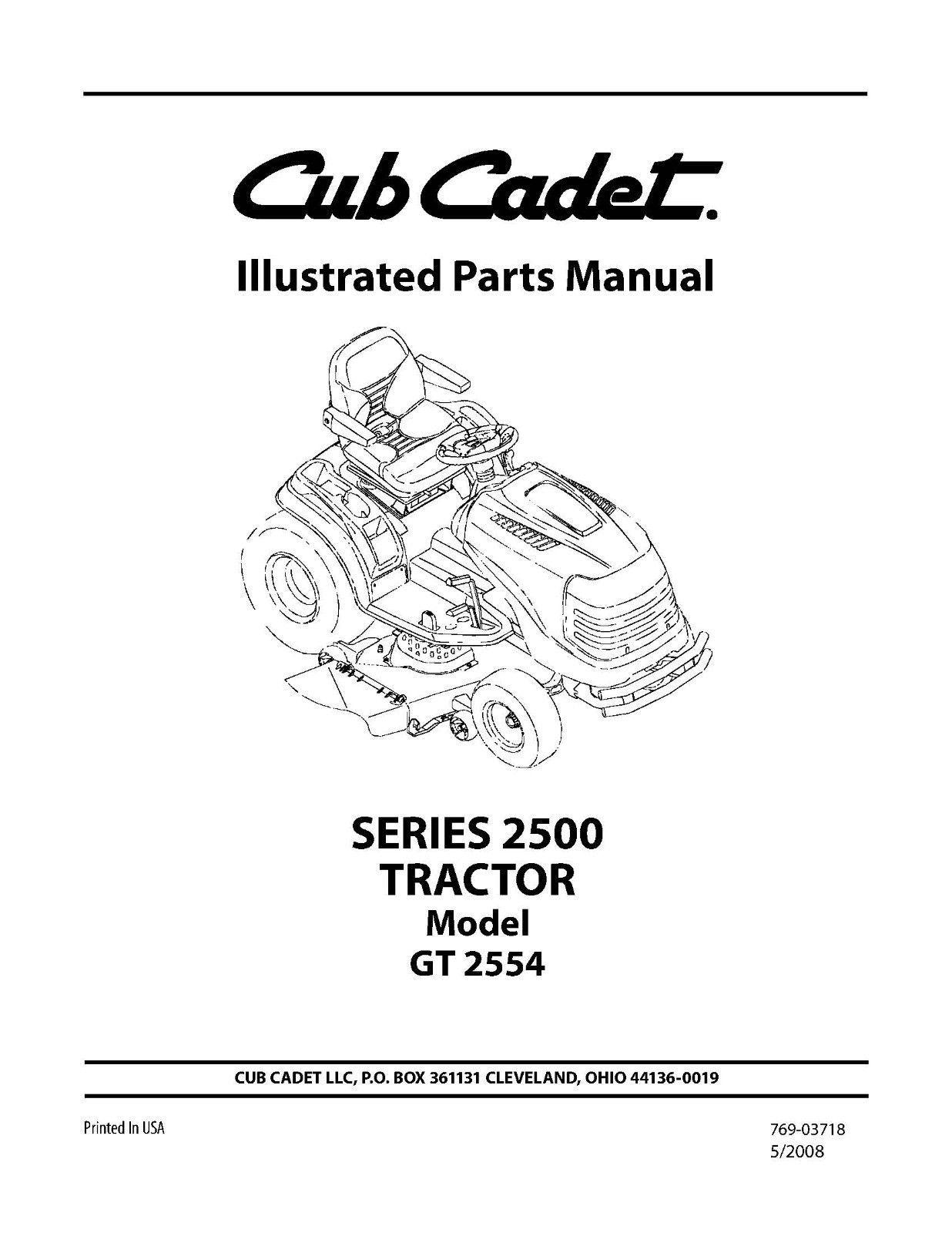 Cub Cadet Parts Manual Model No. GT 2554
