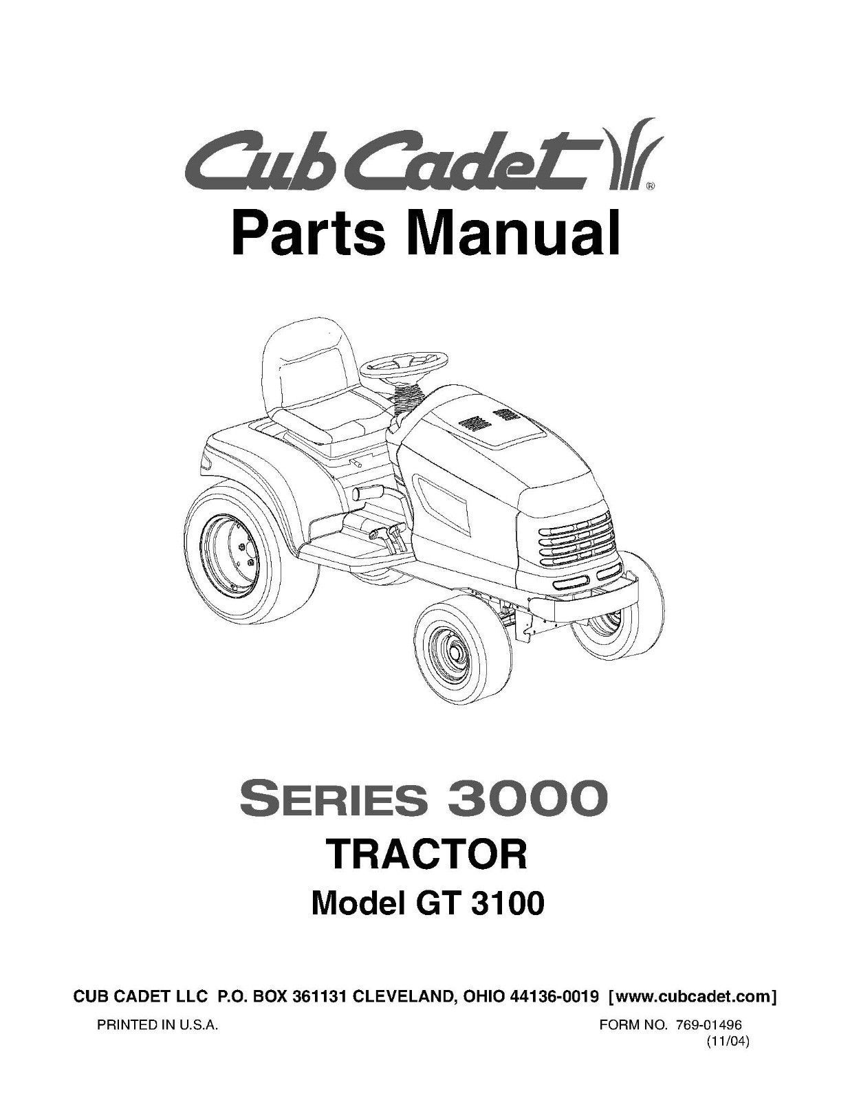 Cub Cadet Parts Manual Model No. GT 3100