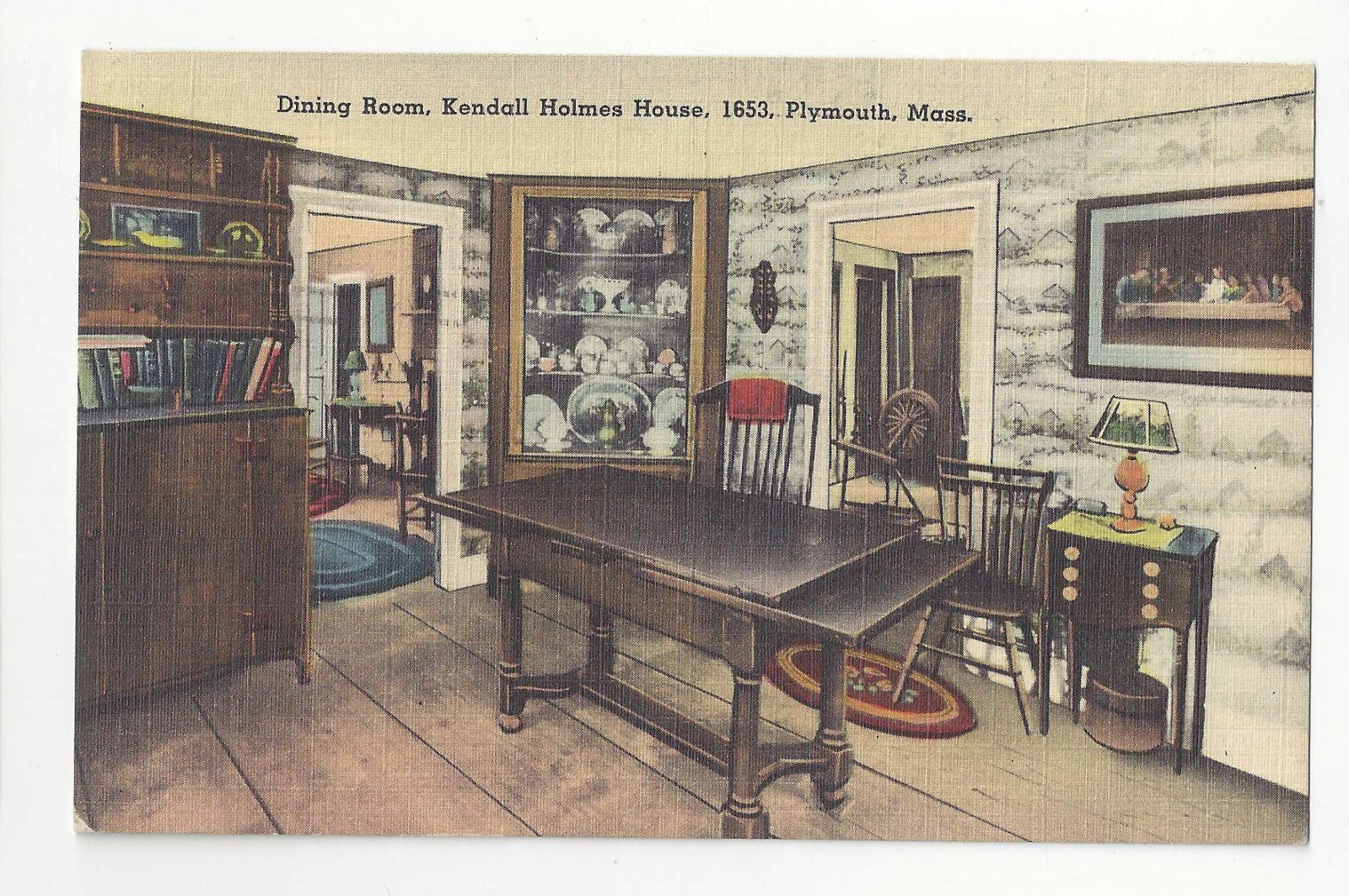 MA Plymouth Kendall Holmes House Dining Room Vtg Tichnor Linen Postcard