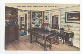 MA Plymouth Kendall Holmes House Dining Room Vtg Tichnor Linen Postcard  - $6.99