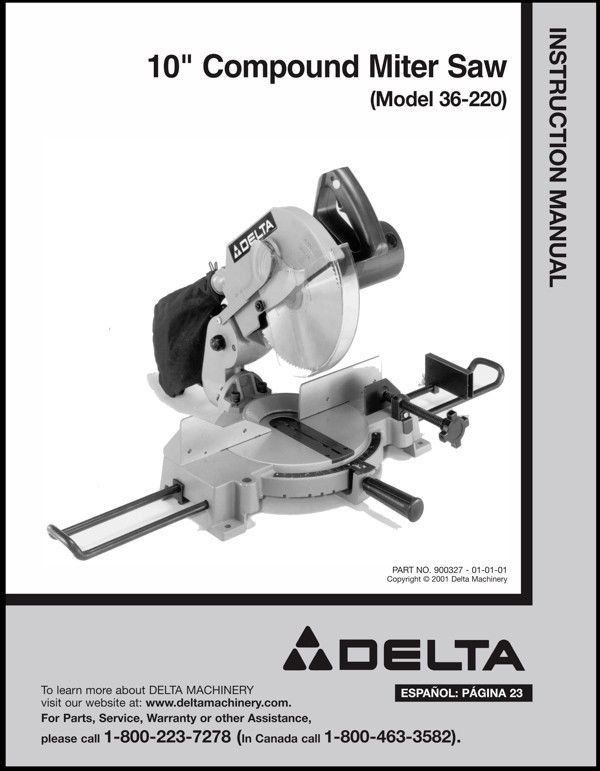 "Delta 10"" Compound Miter Saw Instruction Manual Model No. 36-220"
