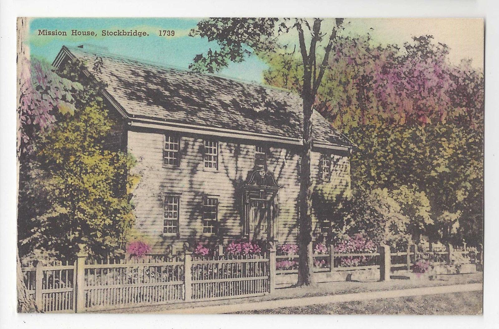 MA Stockbridge Mission House Vtg Hand Colored Albertype Postcard