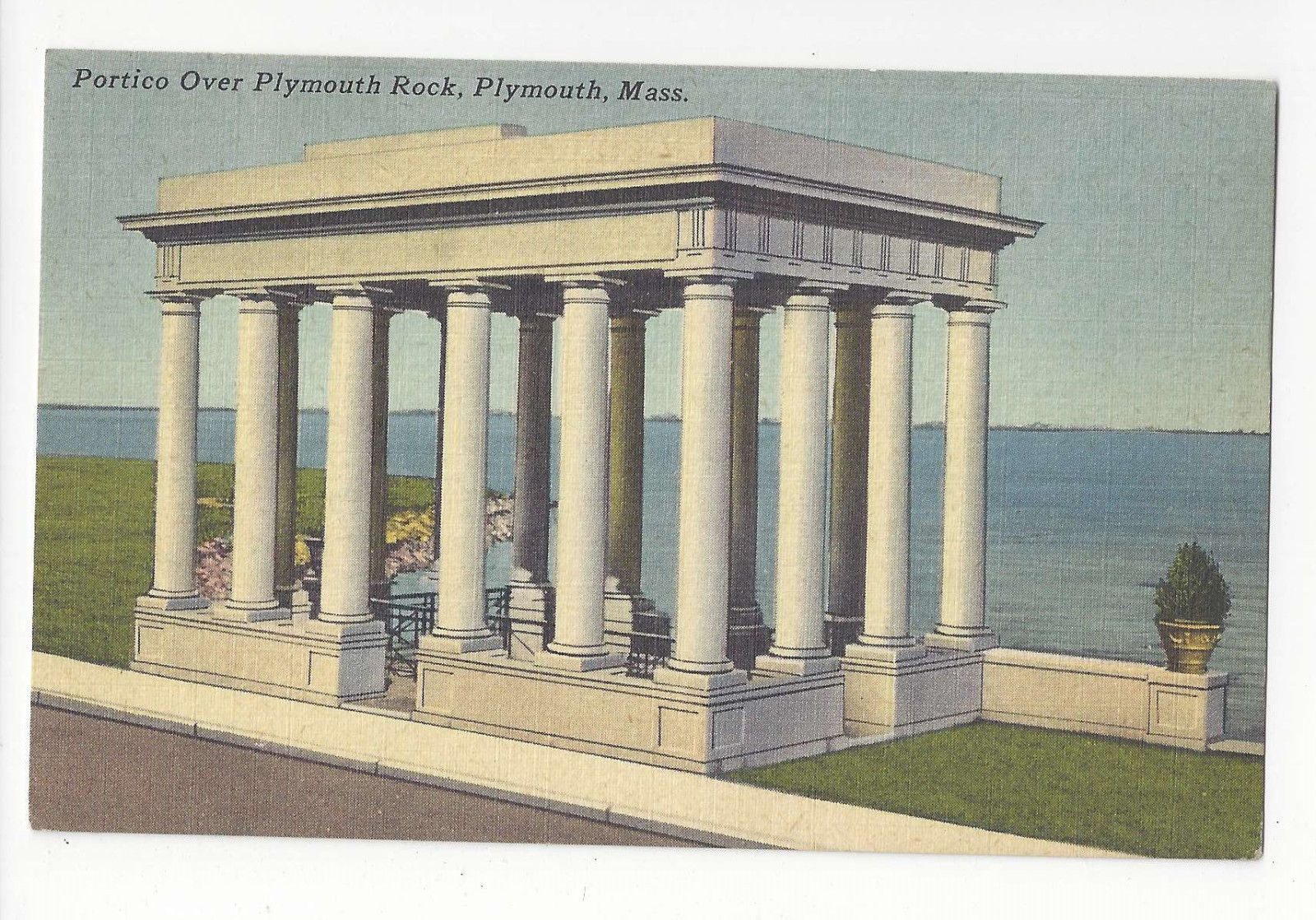 MA Plymouth Portico over Plymouth Rock Vintage 1952 Linen Postcard