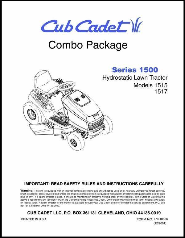 Cub Cadet  Model No.1515-1517 Manuals COMBO Package