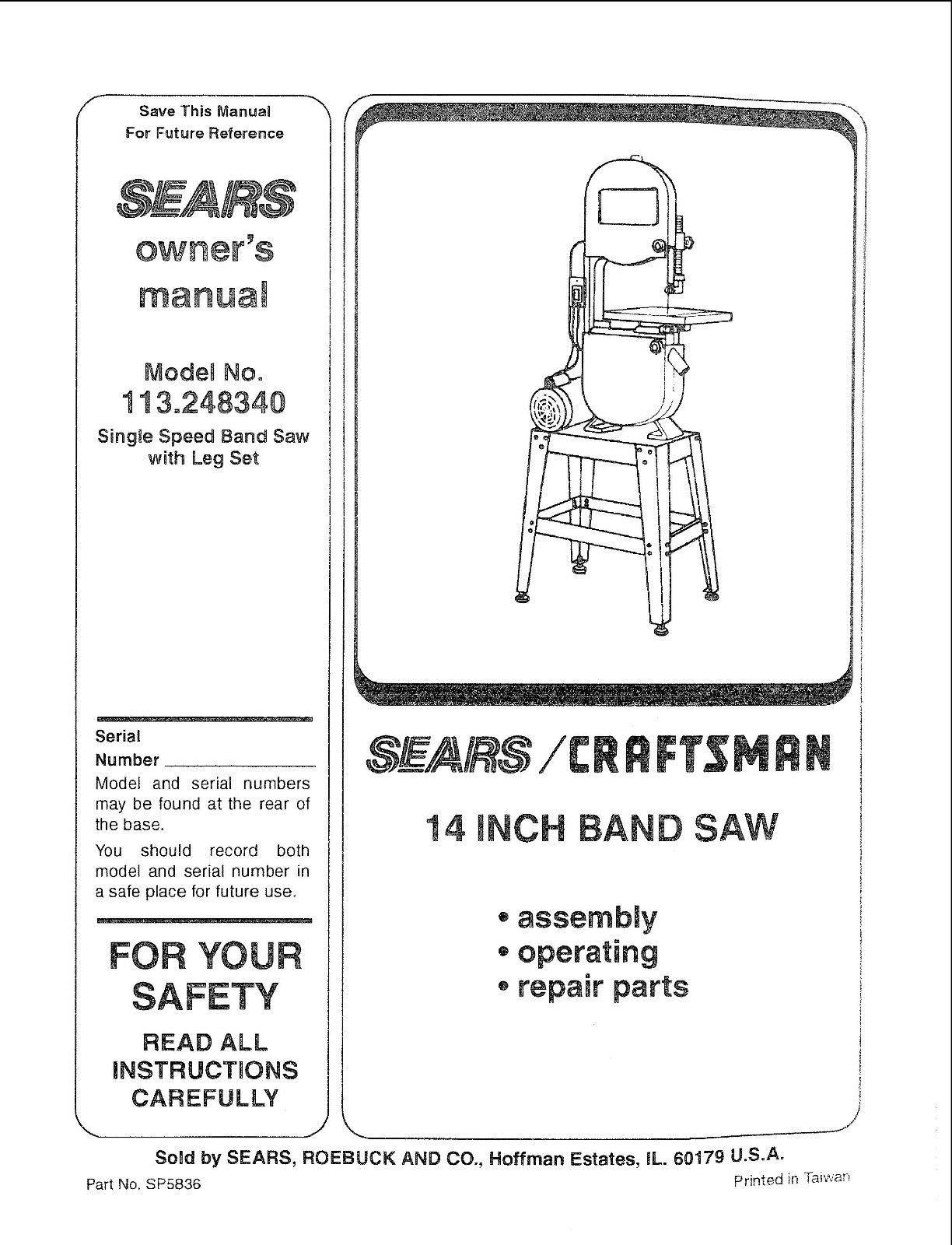 """Craftsman  14 """" Operators Manual 113.248340"""