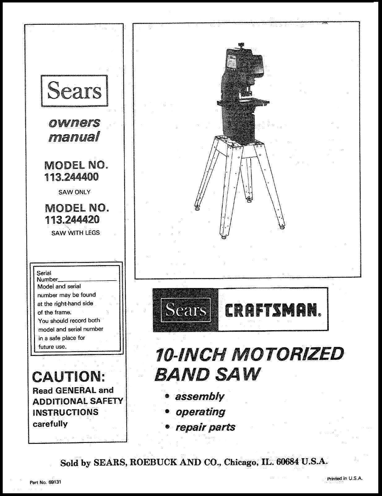 """Craftsman  10 """" Operators Manual 113.244400"""