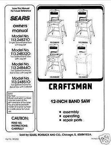 """Craftsman  12 """" Operators Manual 113.248310"""
