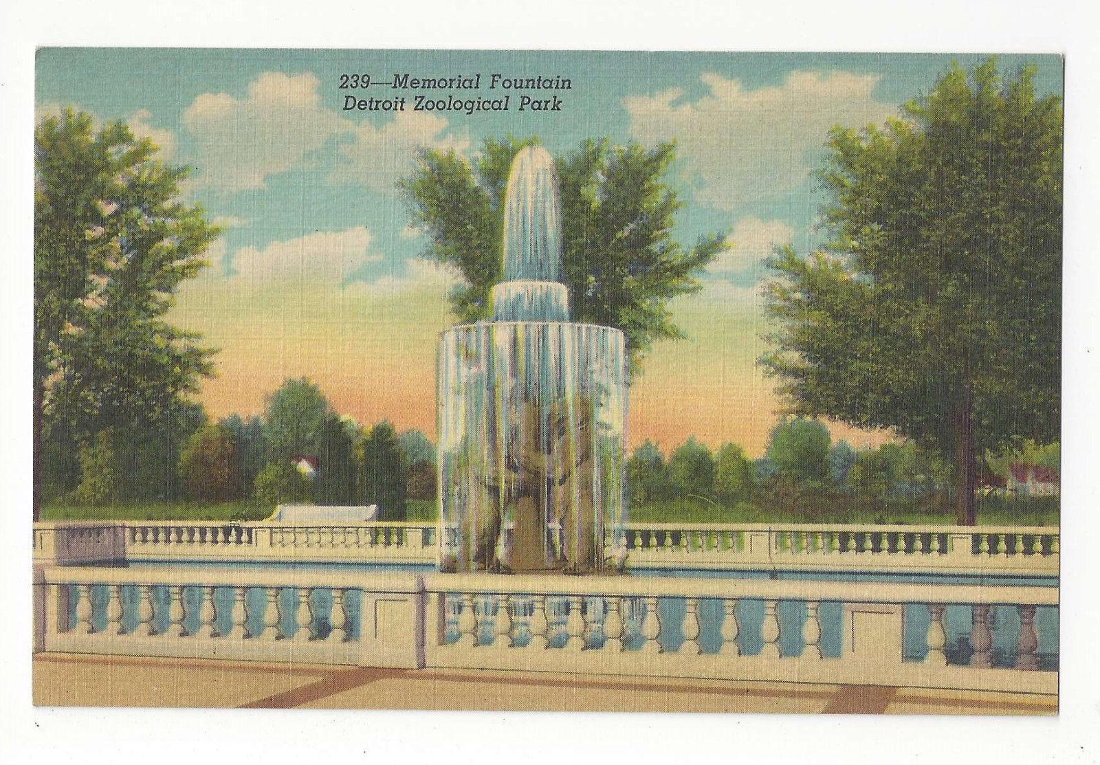 MI Detroit Zoological Park Horace Rockham Memorial Fountain Vtg Linen Postcard