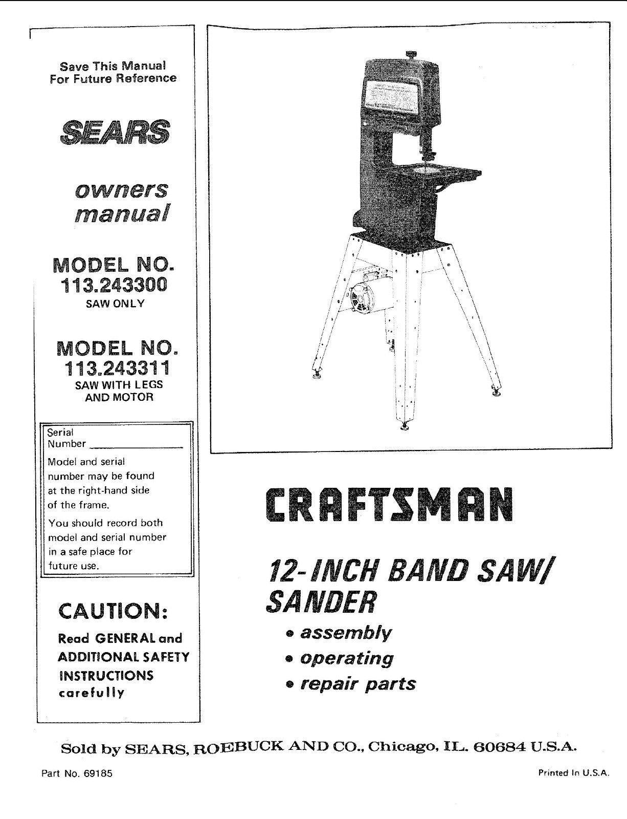 "Craftsman  12 "" Operators Manual 113.243311"