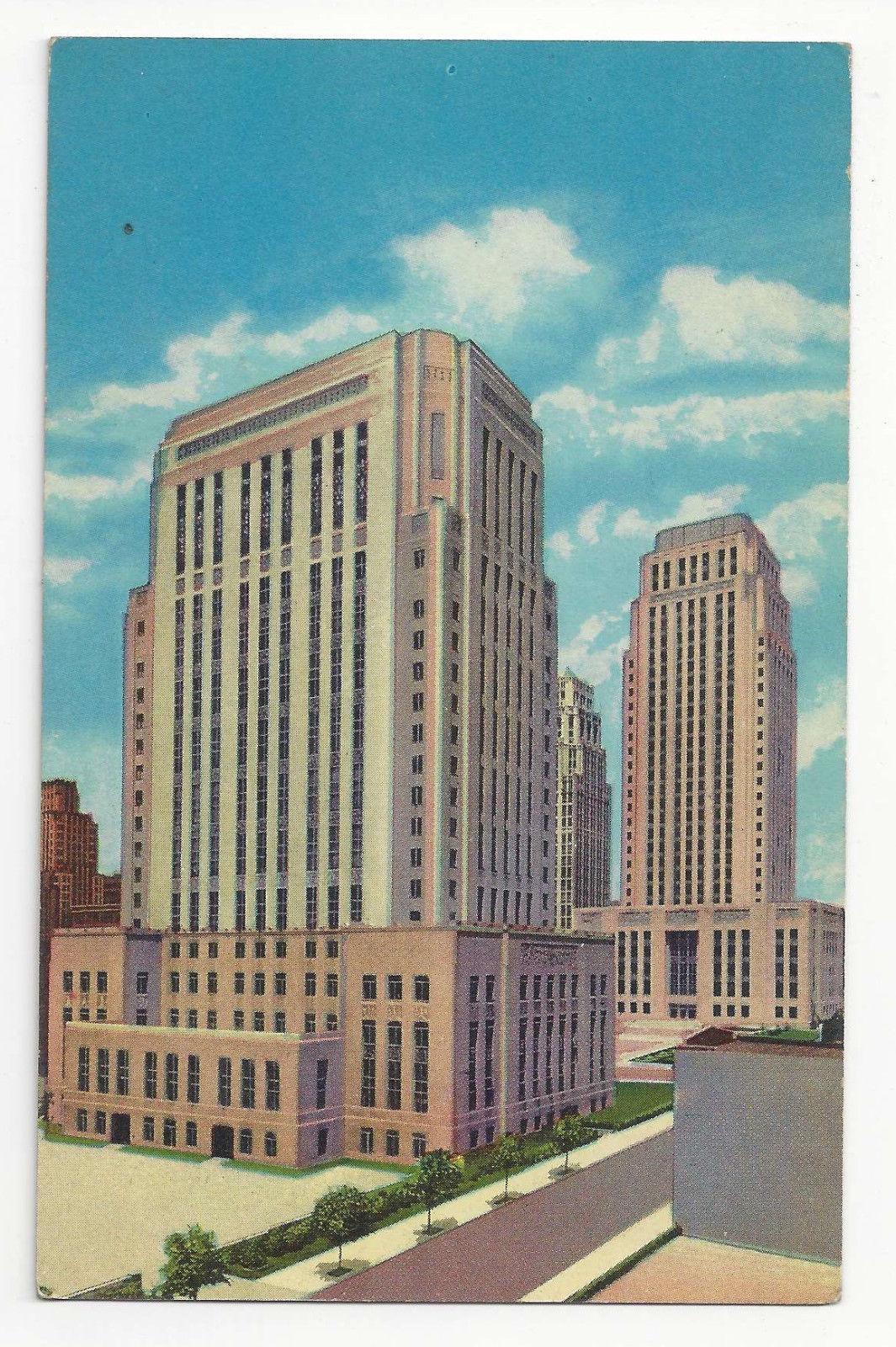 MO Kansas City Civic Center Jackson County Courthouse City Hall Vtg Postcard
