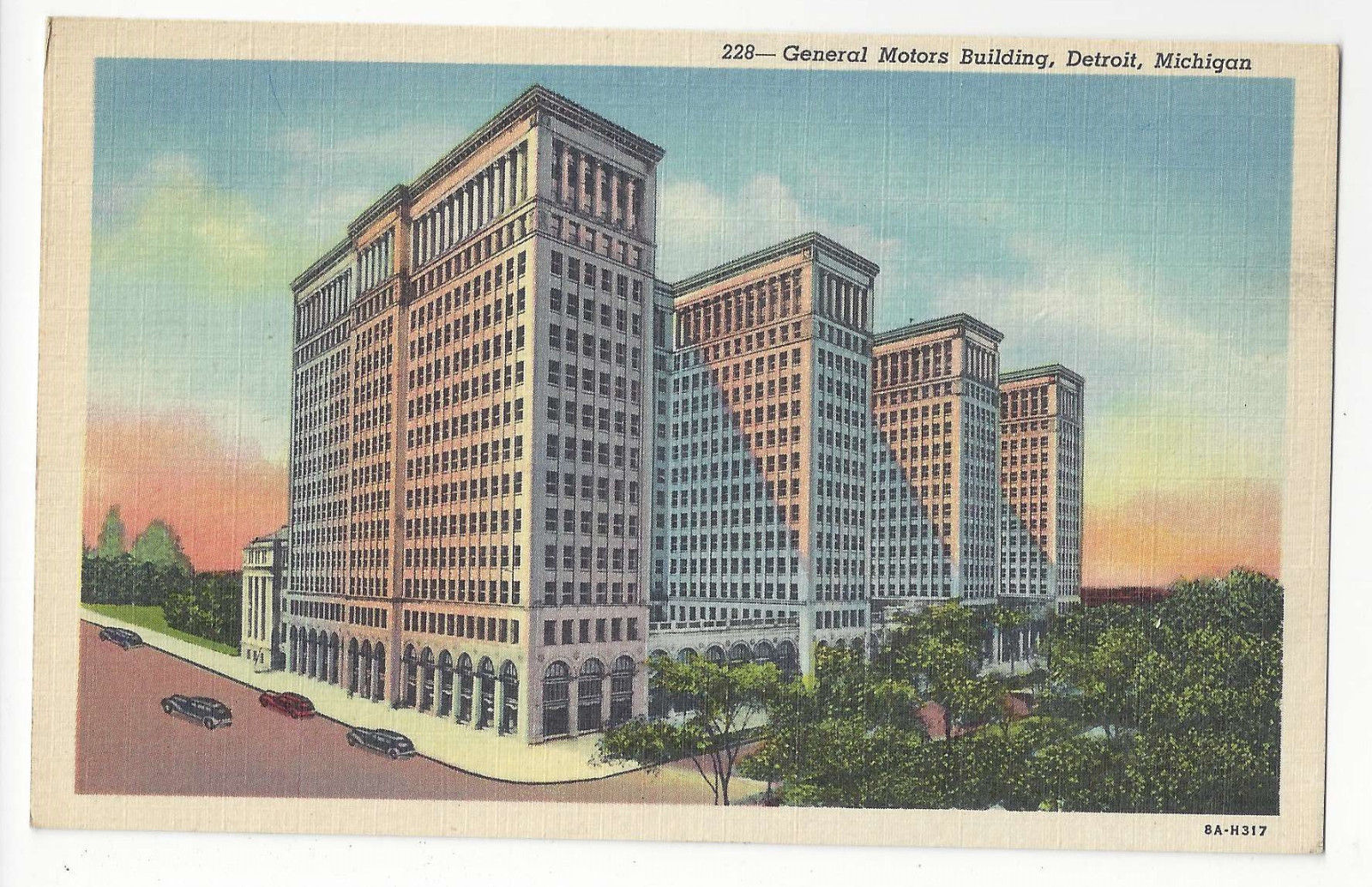 MI Detroit General Motors Building Vtg 1938 Linen Postcard