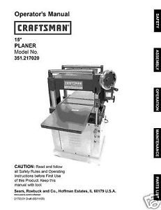 "Craftsman 15"" Planer Operators Manual No.351.217020"