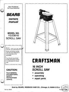 "Craftsman 16 "" Scroll Saw Manual Model # 113.236110"