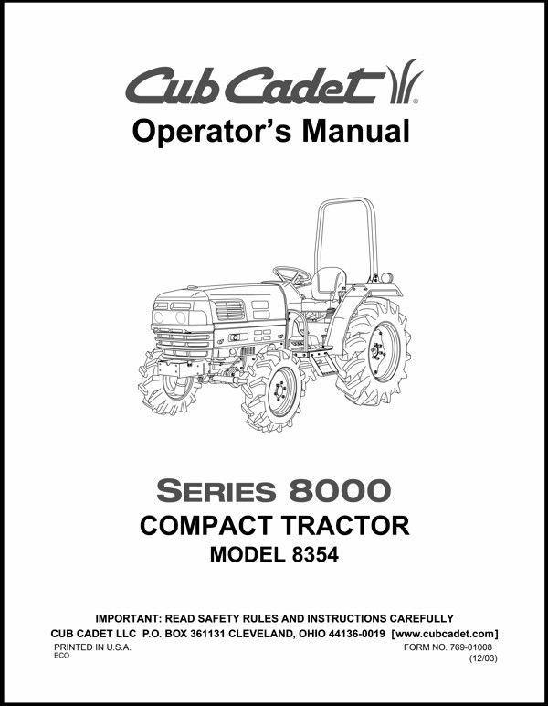 Cub Cadet Operators Manual Model No. 8354