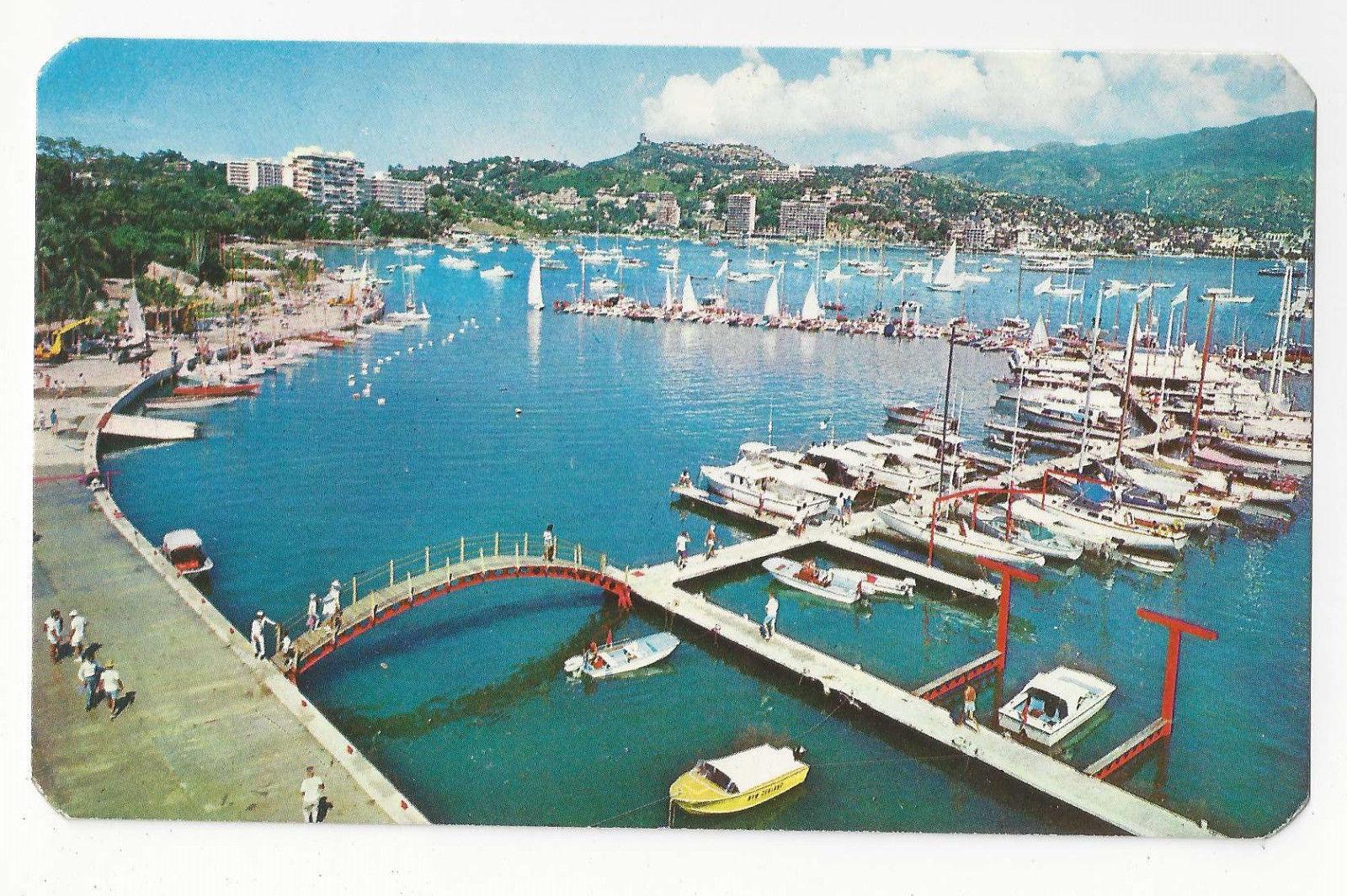 Mexico Acapulco New Yacht Club XIX Olympics 1968 Aerial View Vtg Postcard Boats
