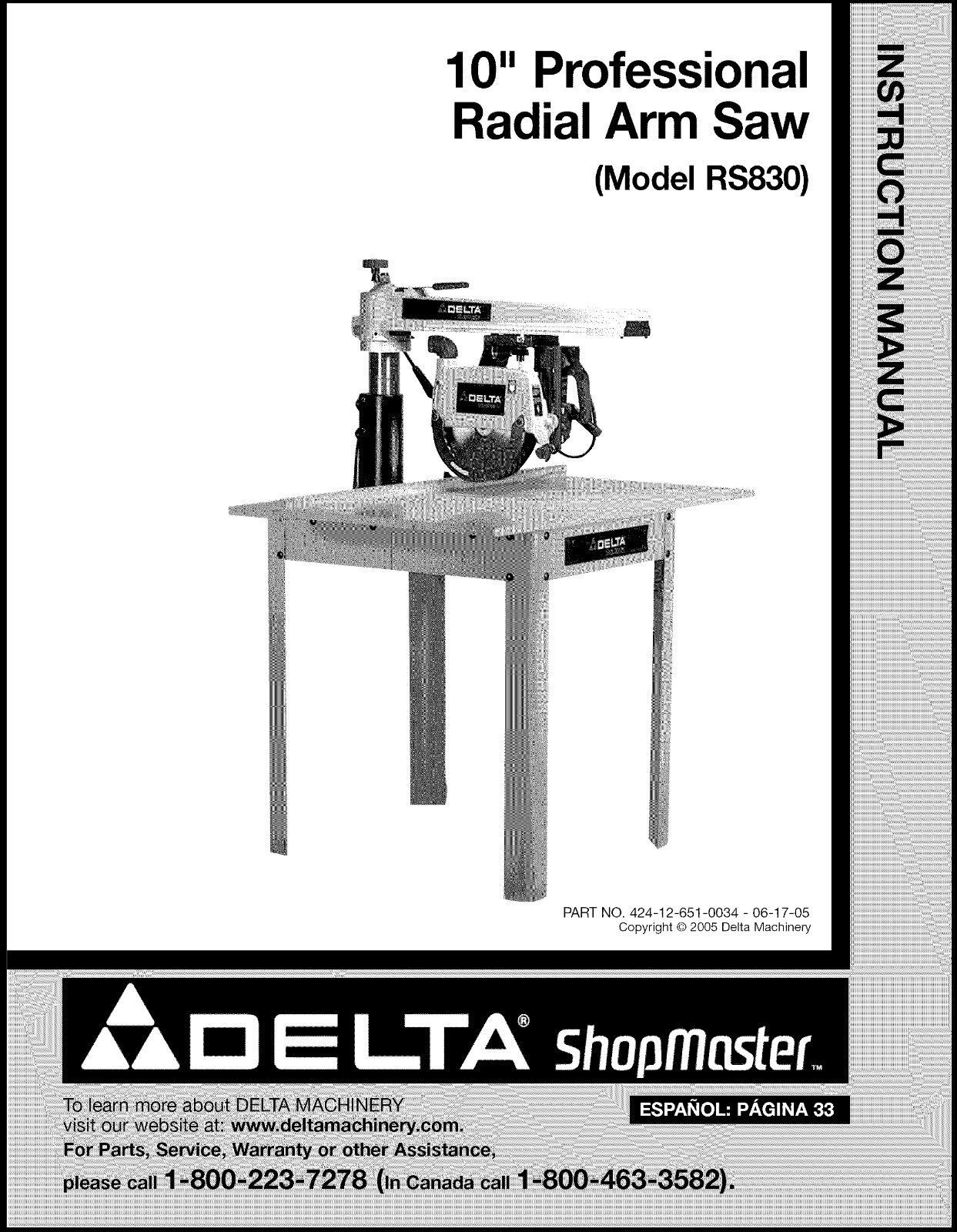 Delta Radial Arm Saw Instruction Manual# RS830