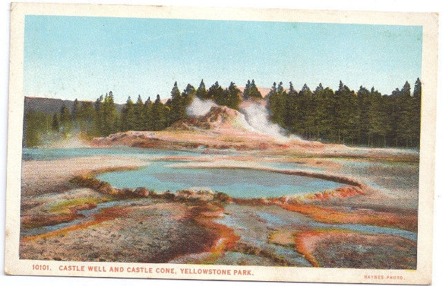 Yellowstone National Park Castle Well andCastle Cone Vtg J.E. Haynes Postcard