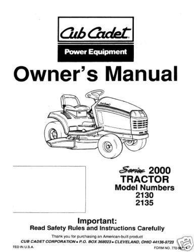 Cub Cadet  Model No. 2146 Manuals COMBO Package