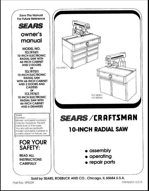 Sears Craftsman  Radial Arm Saw Manual No.113.197511